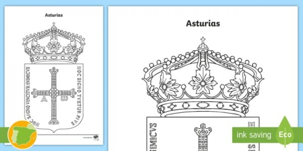 Hoja De Colorear  El Escudo De Asturias
