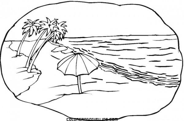 Escena De Playa Con Palmeras Para Colorear
