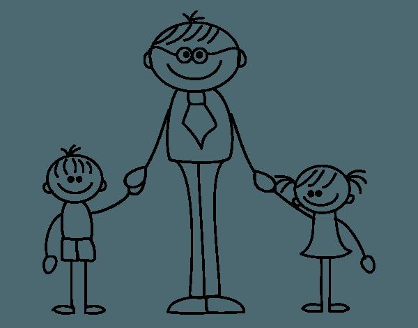 Dibujo De Padre Con Sus Hijos Para Colorear