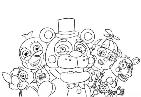 Dibujo De Todos Los Personajes De Five Nights At Freddy's Para