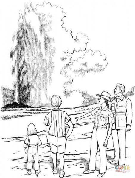 Dibujo De Géiser En El Parque Nacional De Yellowstone Para
