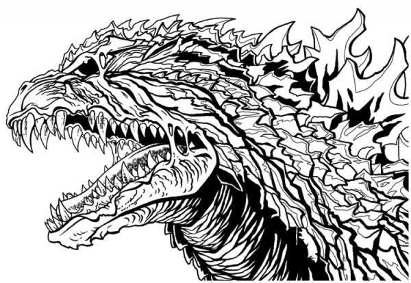 Dibujo Para Colorear Godzilla   Cabeza De Godzilla 9