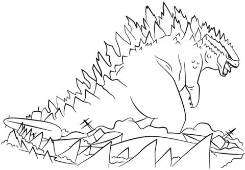 Dibujo De Godzilla Sale Del Mar Para Colorear