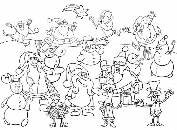 Grupo De Personajes De Navidad Para Colorear
