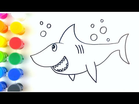 Cómo Dibujar Y Colorear Un Tiburón Para Niños Sea Animals How To