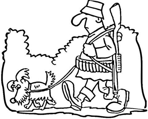 Dibujo De Cazador Y Perro Para Colorear