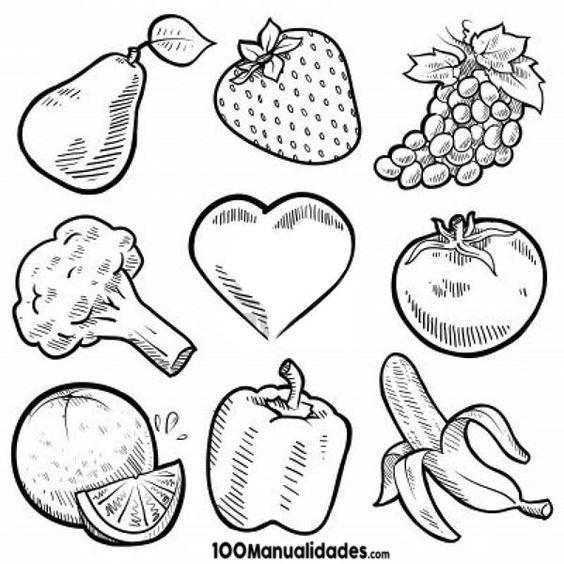 Imagenes Para Colorear De Verduras Y Frutas