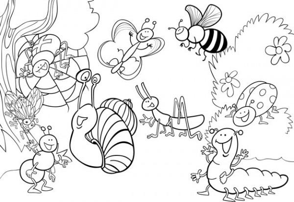Insectos De Dibujos Animados En El Prado Para Colorear