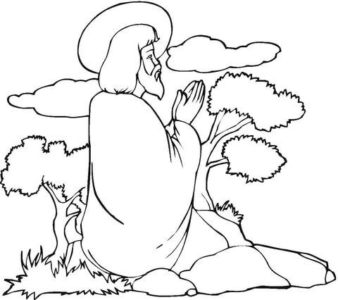 Dibujo De Jesús Rezando Para Colorear