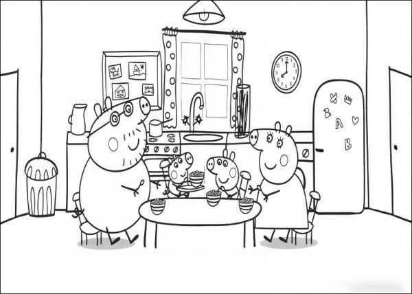 La Familia Pig Al Completo Desayunando