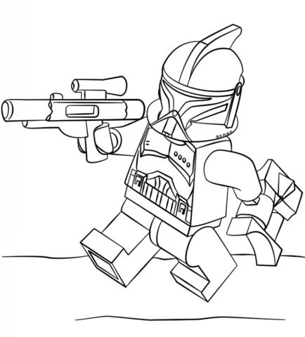 Dibujo De Clone Trooper De Lego Para Colorear