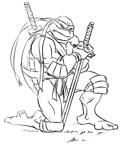 Dibujo De Leonardo, De Las Tortugas Ninja Para Colorear