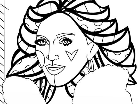 Dibujo De Madonna, De Romero Britto Para Colorear