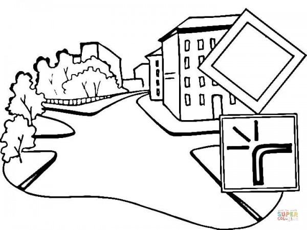 Dibujo De Señal De Carretera Principal Para Colorear