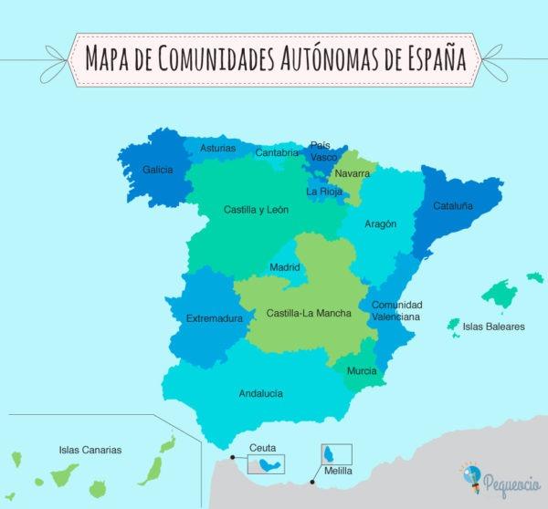 Mapa De Comunidades Autónomas Para Imprimir