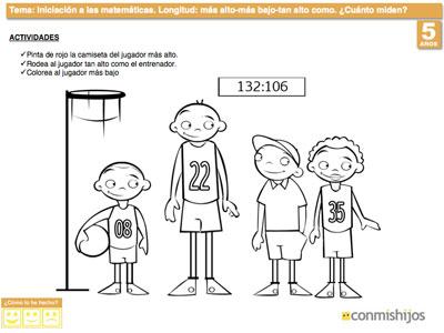 Más Alto Y Más Bajo  Ejercicio De Matemáticas Para Niños