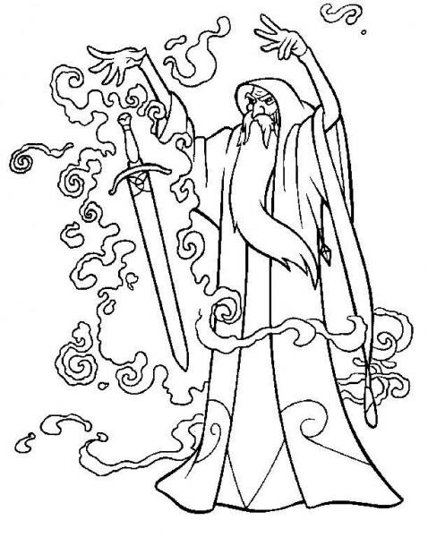 Dibujo Para Colorear Merlin 04