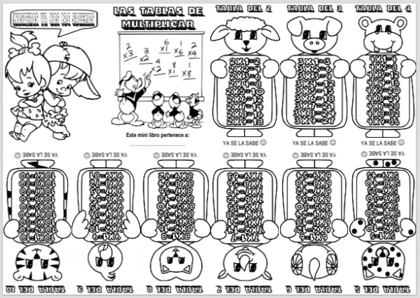 Mini Libro Tablas Multiplicar