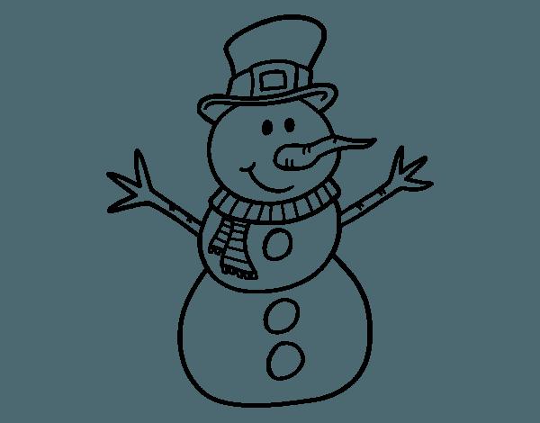 Dibujo De Muñeco De Nieve Con Sombrero Para Colorear