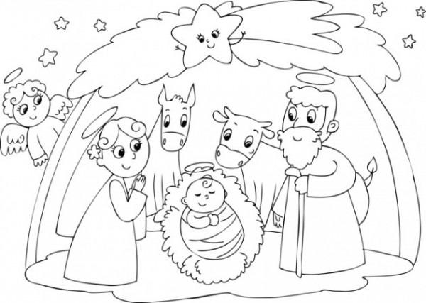 Nacimientos De Navidad Para Colorear