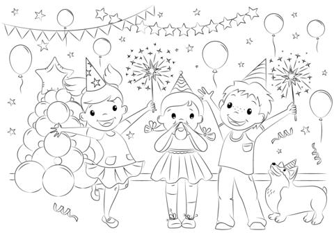 Dibujo De Celebración De Año Nuevo Para Colorear