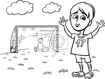 Niño Jugando Fútbol Para Colorear Fotomural • Fotomurales Igualdad