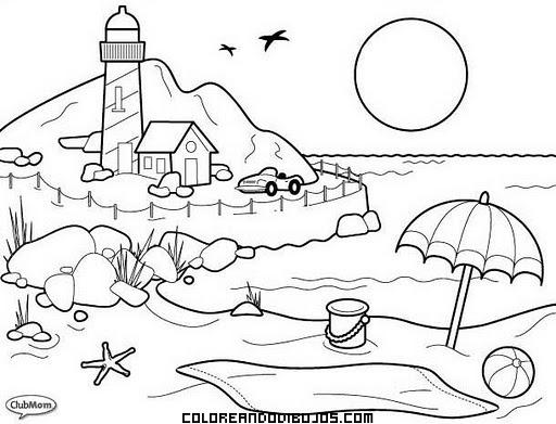Playa Y Faro Para Pintar
