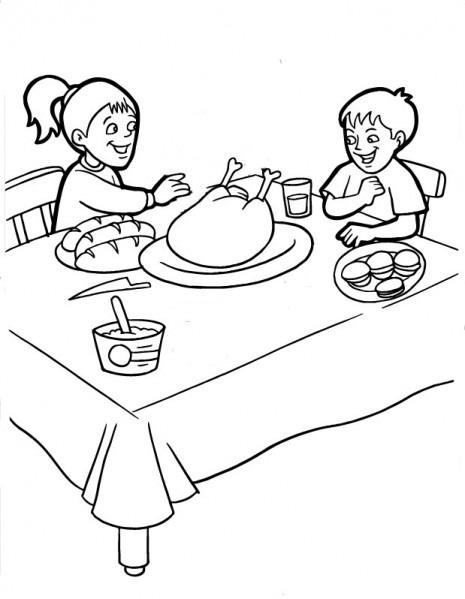 Dibujos De Escenas Familiares Con El Pavo Navideño