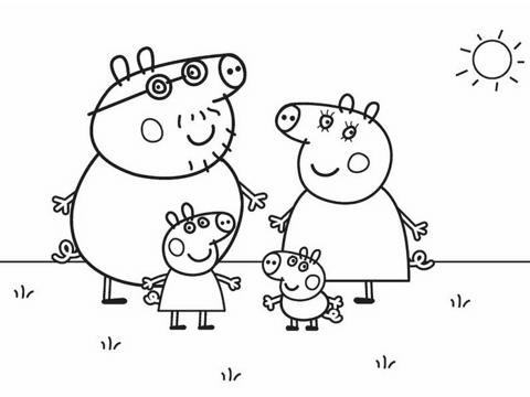 Dibujo De La Familia De Peppa Pig Para Colorear