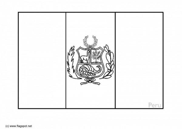 Dibujo Bandera Del Perú Para Colorear