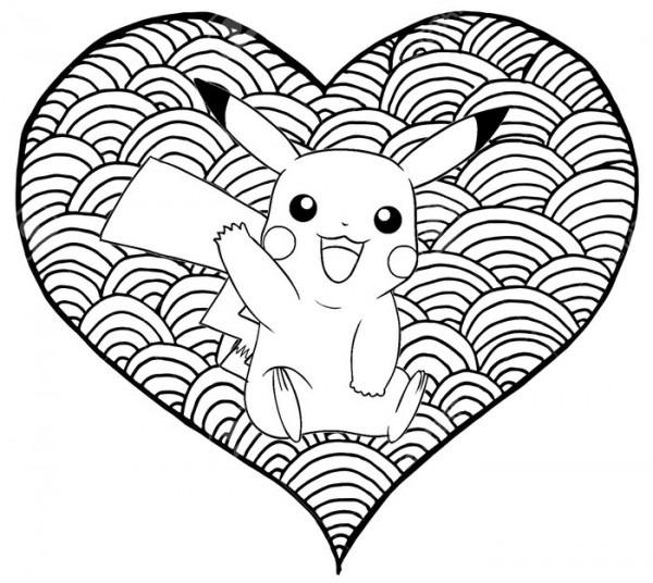 Dibujo Para Colorear Pikachu   Corazón Pikachu 12