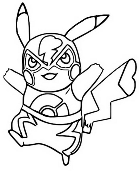 Dibujo Para Colorear Pikachu   Pikachu Super Smash Bros 1