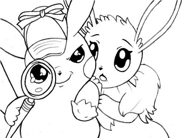 Dibujo Para Colorear Pikachu   Detective Pikachu Y Eevee 6