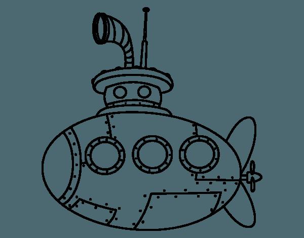 Dibujo De Submarino Clásico Para Colorear
