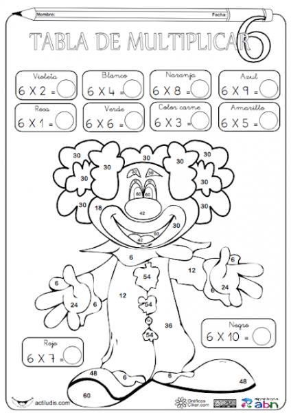 Tablas De Multiplicar  Fichas Para Colorear Y Jugar