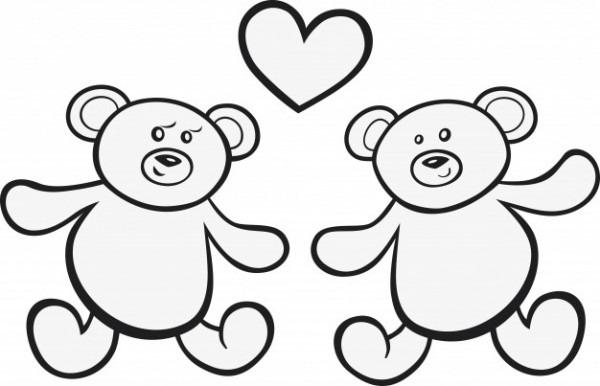 Teddy Bears En Amor Para Colorear Libro