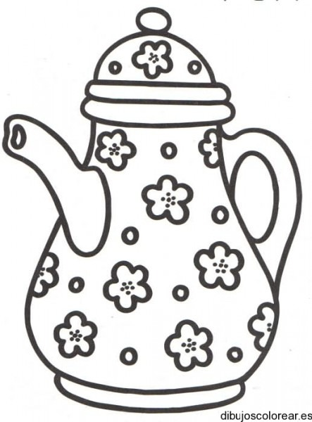 Dibujo De Una Cafetera Con Flores