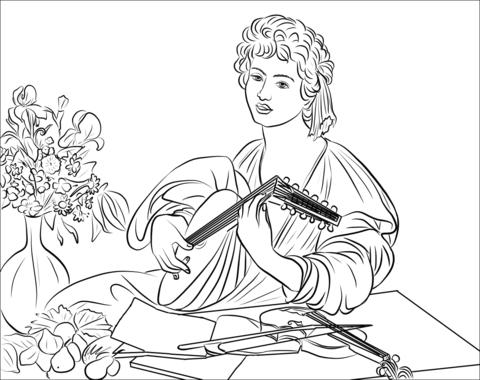Dibujo De Apolo Tocando El Laúd, Cuadro De Caravaggio Para