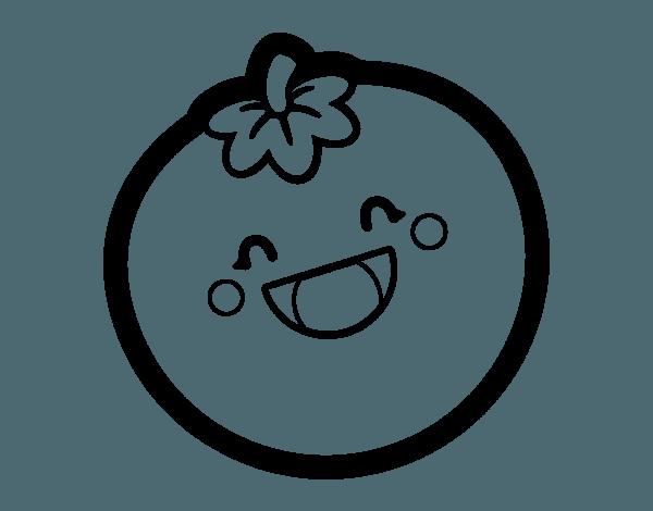 Dibujo De Tomate Sonriente Para Colorear