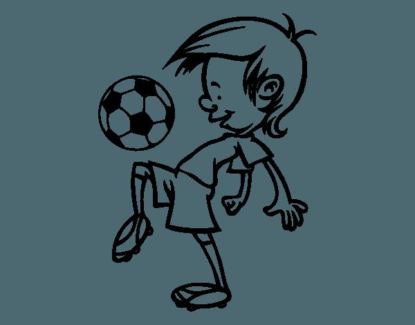 Dibujo De Toques Con El Balón Para Colorear