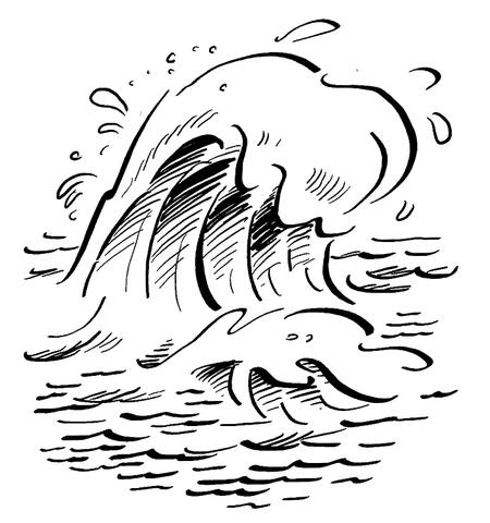 Dibujo De Olas En El Océano Para Colorear