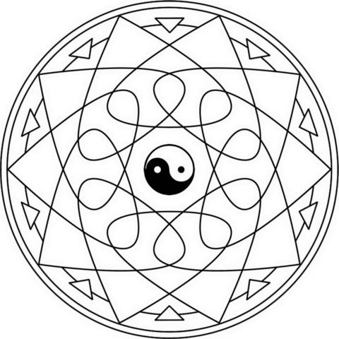 Dibujo De Mandala Yin Yang Para Colorear