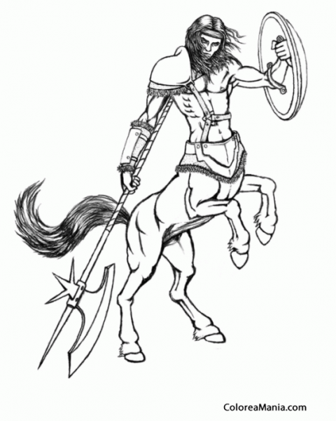 Colorear Centauro Guerrero (animales Fantásticos), Dibujo Para
