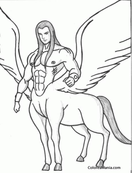 Colorear Centauro Con Alas (animales Fantásticos), Dibujo Para