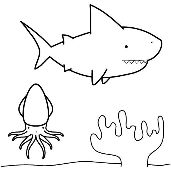 Tiburón Buscando Calamar  Dibujo Para Colorear E Imprimir