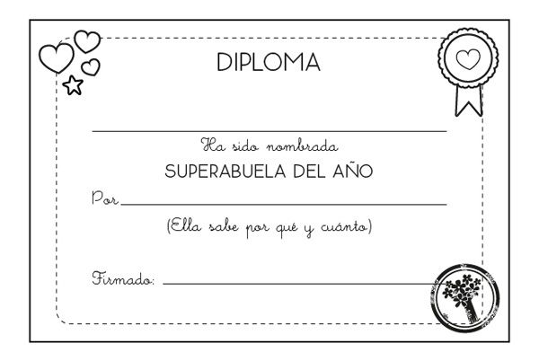 Diploma A La Mejor Abuela  Dibujo Para Colorear E Imprimir