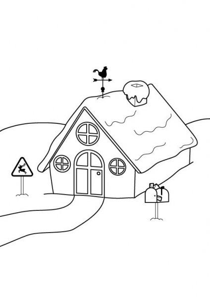 La Casa De Papá Noel  Dibujo Para Imprimir Y Colorear