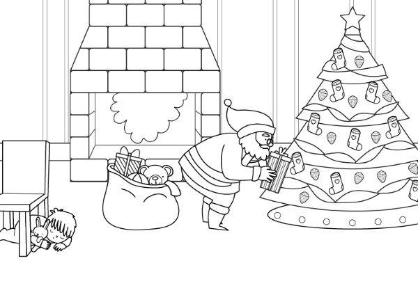 Papá Noel Y El árbol De Navidad  Dibujo Para Colorear E Imprimir