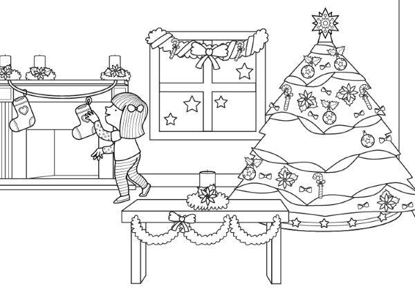 Decoración De Navidad  Dibujo Para Colorear E Imprimir