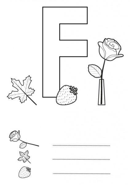 Letra F  Dibujo Para Colorear E Imprimir